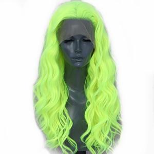 Неон желтой естественной волна волосы Glueless Синтетический фронт шнурок для косплея Drag Queen партия парика Термостойких волокна волос