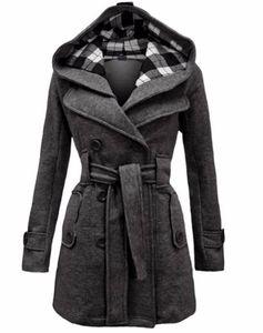 2018 Herbst-Winter-Frauen Art und Weise lange Wollmäntel Red Oberbekleidung weiblichen Mantel mit Hut Freizeitjacken Warme Fleece für Dame Overcoat
