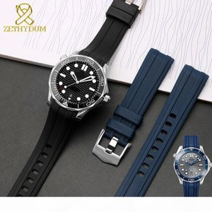 silicone rubber watch strap 20mm watchband Curved End waterproof silicone bracelet watch for AT150 300 blue band