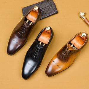 Vintage britische Bullock Business Herrenschuhe Echtes Leder Schwarz Braun Leder Oxford Schuhe 2020 Formale Party Männer Lochige Hochzeitsschuhe