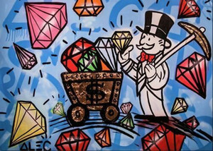 Alec Monopoly urban art wall decor Diamonds Home Decor Handpainted &HD Print Oil Painting On Canvas Wall Art Canvas Pictures 1113
