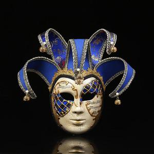 chaud Venise htgar Masque Jolly Jester Party Costume de mascarade Carnaval Dionysia Halloween Noël classique Italia Masque complet Props