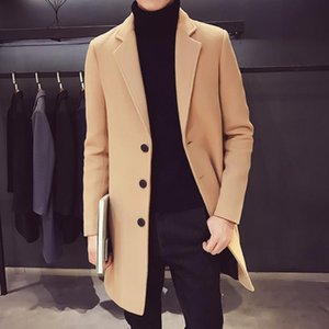 New Mens Boutique Утолщение Medium и Long Шерстяные пальто Mens Business Casual Long Jacket Keep Warm Solid Color ветровку