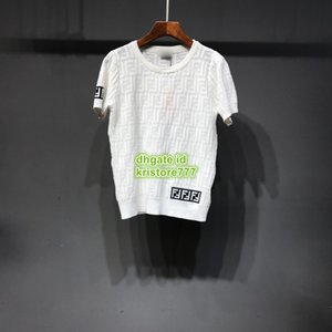 2019 Novas Mulheres Verão Cor Branca Carta de Malha Curto T-Shirt Tee Tops Tripulação Pescoço Malhas Camisa Venda Quente Tee Personalizar Tee de Manga Curta 19
