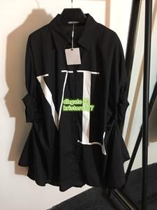 Übergroße Frauen Unregelmäßige Brief Shirt Kurzarm Kleid High-End-Benutzerdefinierte Zwei Farben Lose Hemdbluse 2019