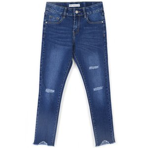2019 LEIJIJEANS Spring Plus Size Three Ripped Hole Bleached Zipper Fly Ankle Length Denim Skinny Pencil Stretch Jeans For Women
