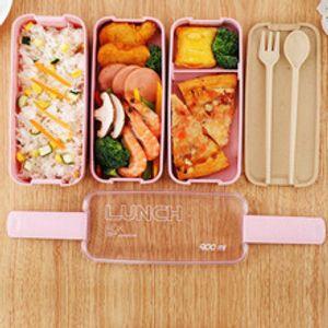 900ml Lunch Box 3 camadas de palha de trigo Bento Caixas de microondas Louça Food Storage Container Lancheira Eco amigável