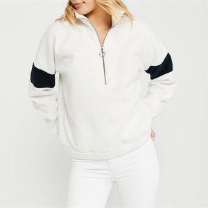 Womens Designer Patchwork Hoodies with Zipper Long Sleeve Fleece Lapel Neck Ladies Sweatshirts Fashion Loose Female Clothing