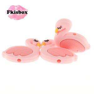Fkisbox 15pcs Mini Flamingo Silikon Swan Boncuk Bpa Ücretsiz Yenidoğan emziği Zinciri DIY Bebek Teething kolye Noel Dekorasyon
