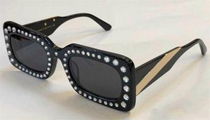 Limited style fashion sunglasses 020 new avant-garde design style Rectangular-frame acetate sunglasses with diamond top quality uv400 lens