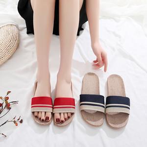 pantoufles mode design pantoufles famille lin intérieur chaussures de sol se croisent avec des pantoufles sudoripares silencieuses sandales mâles et femelles d'été
