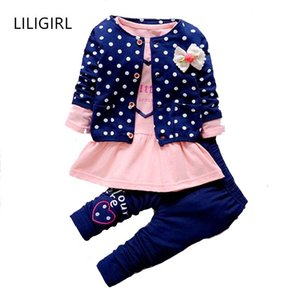 LILIGIRL Kids Baby Girl Clothing Sets Wave Point Clothing Set for Baby Girls Clothes Suit Children Cartoon 3pcs SuitkDao#
