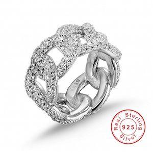 Nova marca de moda oco fora Cadeia pintura completa jóia do casamento SONA diamante anel de brilhantes de prata esterlina 925 para mulheres