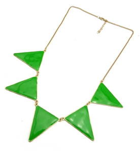 New Fashion Gold Tone Metal geometry Triangle Enamel Pendant Necklace 4colors