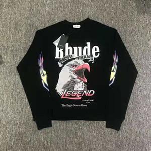 Die Neue Eagles Gedruckt Langarm T Shirt Hiphop Männer Frauen Hohe Qualität RHUDE Weiß Schwarz Farbe Streetwear T-shirt Top
