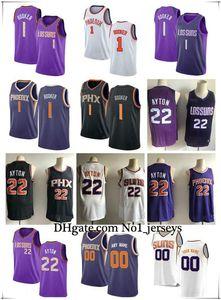 Hommes Femmes Phoenix YouthSunsnba Devin 1 Booker Deandre 22 Ayton Basketball personnalisés Maillots Suns Blanc Noir Violet