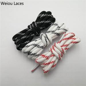 Os laços redondos de Weiou ostentam os cadarços Shoestring do poliéster vermelho branco preto dos cadarços para a fábrica desajeitada da sapatilha de vendas