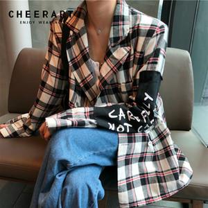 Cheerart Blazer A Cuadros Blazers Y Chaquetas De Las Mujeres Elegante Chaqueta Casual Coreana Azul Rojo Blanco Parche Ropa Femenina