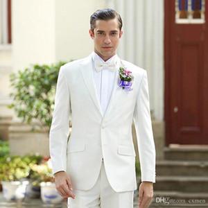 White Men Suits Online Hochzeit Bräutigam Smoking Best Man Blazer 2 Stück Zwei-Knopf-Jacken-Hosen Groomsmen Kleidung Bräutigam Wear Spitze Revers