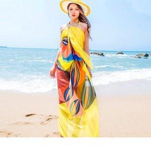 Designer Wholesale- 140x190cm Sommer-Schal-Frauen-Mädchen-Strand Sarongs Chiffon Schal Geometrischer Entwurfs-Badeanzug Abdeckung