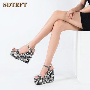 SDTRFT stripes shoes woman 13cm wedges Stiletto Pumps Female Sandals High Heels Charming Banquet Style shoes Sandalias