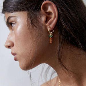 Miwens Newest Metal Rhinestone Radish Green Leaf Plant Fruit Drop Earring Hoop Crystal Women Holiday Party Earring Jewelry