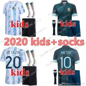 2020 jeunes garçons maillots de football Argentine 20 21 Copa América MESSI AGUERO Maillot de football Dybala jersey Lautaro uniformes kit pour enfants