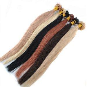 Высокое качество 1g / прядь 300г / серия Prebonded итальянский кератина красный серый белый блондин Цвет Nail Tip U кончик выдвижения волос