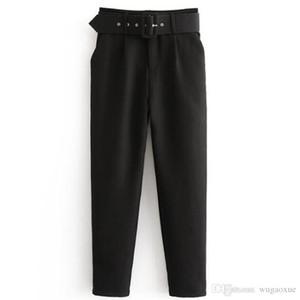 Bella Felsefe Yüksek Bel Ofis Lady Kuşaklı Pantolon Nedensel Siyah Harem Pantolon Sashes Elegant Lady Pantolon Ile