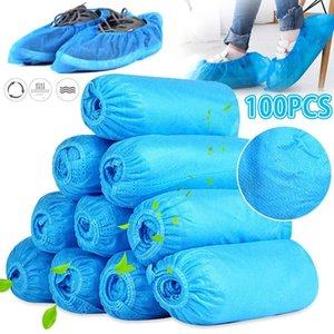 100pcs pattino / copriscarpe monouso Copristivali domestica Tessuto non tessuto Boot antiscivolo Odore a prova di Galosh Prevenire Wet Shoes Covers