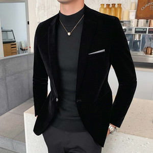 Men's Autumn and Winter Down Suit Jacket Men's Burgundy Suit Jacket Formal Dress Solid Color Plus Size