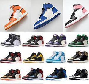 2020 platformu üçlü 1 Yüksek OG Bred Burun Chicago Basketbol ayakkabıları Spiderman UNC Mens hürmet etmek Home Royal Mavi Erkekler Tasarımcı Sneakers Eğitmenler