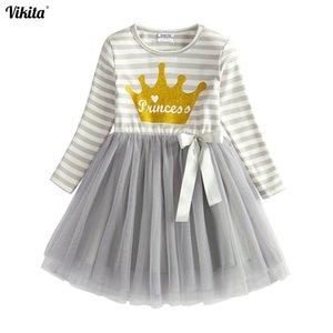 Vikita Meninas Princesa Vestido de Festa de Aniversário Dos Miúdos Carta Imprimir Vestido Crianças Coroa Outono E Inverno Longo Manga Vestidos Lh4563 Y190516