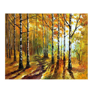 36x48 palete faca pintura a óleo Da Lona pintados à mão caminho da floresta sala de estar sofá fundo decoração da parede pintura pintura Europeia