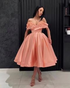 Corallo a buon mercato fuori dalla spalla palla abito abiti da cocktail Perle fiori Handmade convenzionale dei vestiti del partito di sera abiti Prom Dress Formal 132
