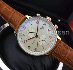 Brown Leather IW Top de luxo Moda pp Mens Mecânica designer de Aço Inoxidável Movimento Automático Assistir esportes dos homens Relógios de pulso Auto-vento