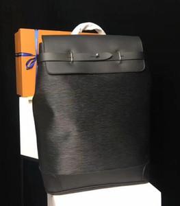 Steamer Zaini NERO fiore stampato Genuine Leather Bag Zaino Mens di alta qualità reale Zaino in pelle di marca del progettista Zaino M44052