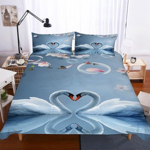 BEST.WENSD king queen bed duvet covet beddings and bed sets Swan quilt cover 3d Pillow cases housse de couette home textile 2020