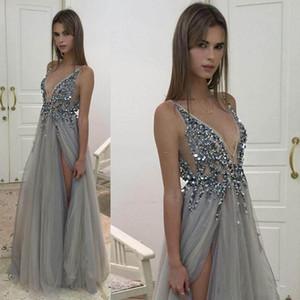 Sexy High Side Split Вечерние платья 2020 Новый Глубокий V шеи Блестки тюль Длинные Серый вечер мантий Sheer Backless Пром платья 2018 года