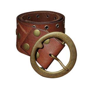 ARTKA Vintage Style Cowskin Solid Handmade Rivet Women'S Irregular Genuine Leather Fashion Belt G09675 C19010301