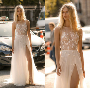 Sexy Front High Slit A Line Brautkleider Blumen Appliques Jewel Ausschnitt Tüll Brautkleid Illusion Strand robe de mariee