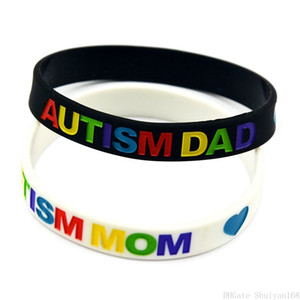 Autism Dad and Mom Silicone Bracelets Black White Color Rubber Band Silicone Wristband Bracelet Jelly Bangle for Kids Women Men Jewelry Gift