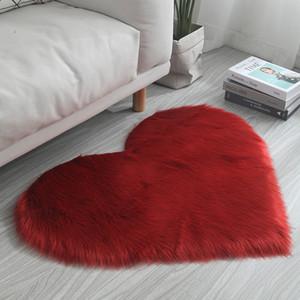 Faux Laine En Peluche Coeur Forme Tapis Salon Canapé Tapis Chambre Chevets Tapis De Sol Rose Noir Gris Chameau Violet Rouge Couleurs
