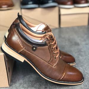 Hommes chaussures chaussures en cuir vachette Robe Designer Vintage Fashion Style de chaussures de mariage doux Chaussures avec Patry Box Top qualité US7-13