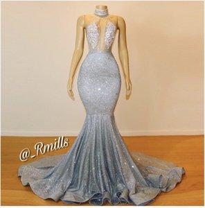 2020 Glitz real imagens de prata Sheer alta Neck Mermaid longo Prom Dresses Lace lantejoulas frisado Backless vestidos de noite BC0679
