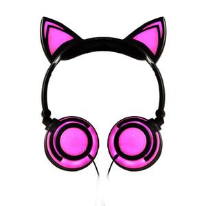 Quality Kids Night Club Cosplay Cat Ear Foldable Children headset Gaming Headphone LED Ear Earphones For PC Laptop Computer + MIC USZ167