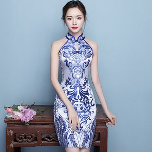 2020 Summer Sexy Sleeveless Qipao Chinese Style Slim Short Cheongsam Exquisite Women Prom Dress Oversize XXXL Vintage Vestidos