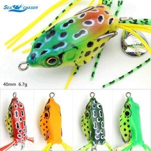 5PCS 5colors Fishing Lure Rana Swim Bait molle di richiamo della rana suono pesca 4,5 centimetri 6.5g Silicon artificiale affrontare pesca pesce