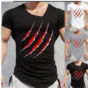 Impresión para hombre camisetas moda Slim Irregular dobladillo Tops Fitness entrenamiento Mens camisetas verano garras