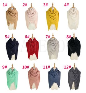 Мода женщина квадратный шарф 140 * 140см сплошной цвет кисточка длинный шарф негабаритные зимние теплые шали обертываются пашмина одеяло DC948
